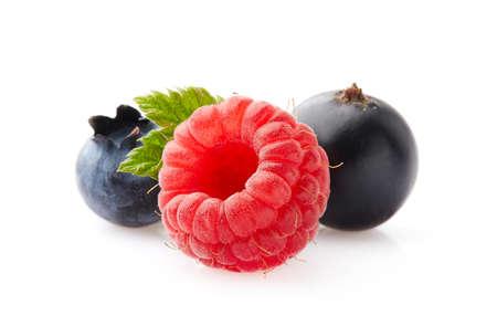 Fresh berries in closeup on white background Zdjęcie Seryjne