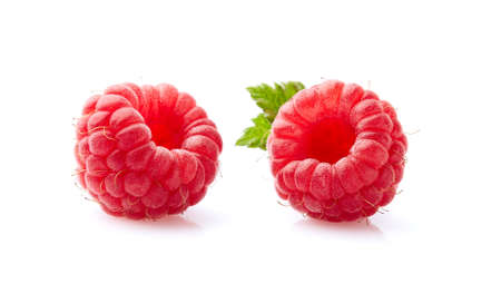 Two raspberry in closeup on white Imagens