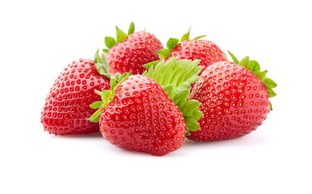 Strawberry with leaves on white
