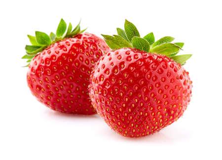 Strawberry in closeup on white background Banco de Imagens