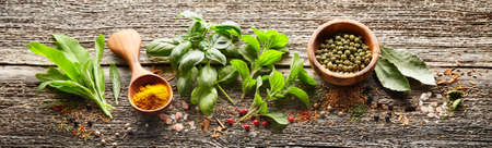 Herbs in closeup on wooden background Stockfoto