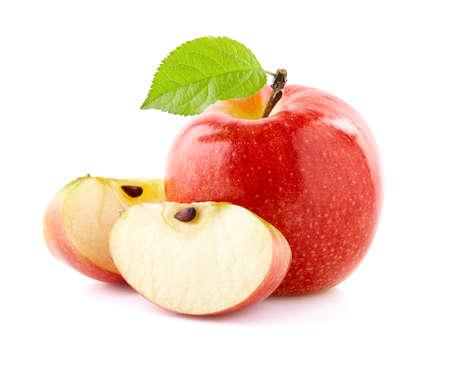 Ripe apple with slices on white Banco de Imagens
