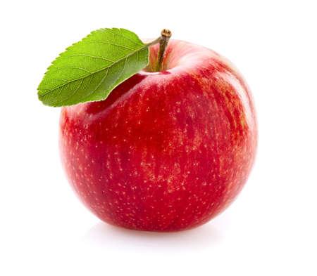 Apfel mit Blatt auf Weiß