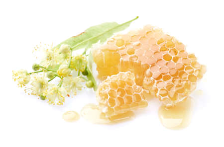 Linden flowers with honeycomb in white background Reklamní fotografie