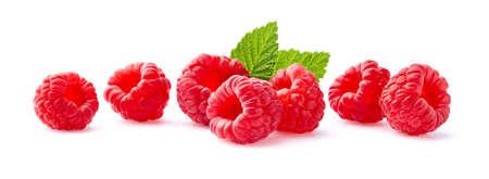 Juicy raspberries in closeup on white background