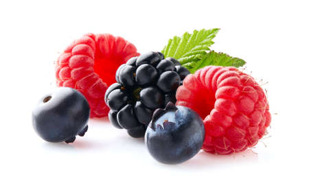 Fresh berries with leaves on white background