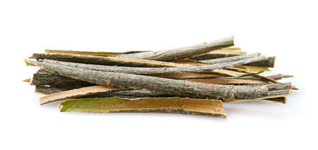 Willow bark on white background. Natural aspirin.