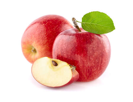 Red apple with slice on white background