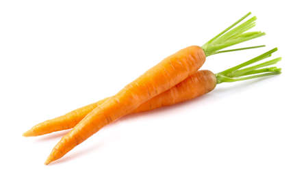 Carrots in closeup on white background