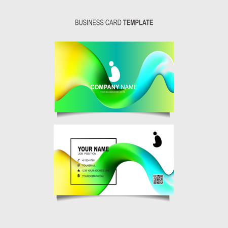 Business Card Template with 3d colorful dynamic fluid wave abstract Stok Fotoğraf - 129901822