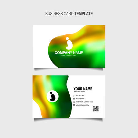 Business Card Template with 3d colorful dynamic fluid wave abstract
