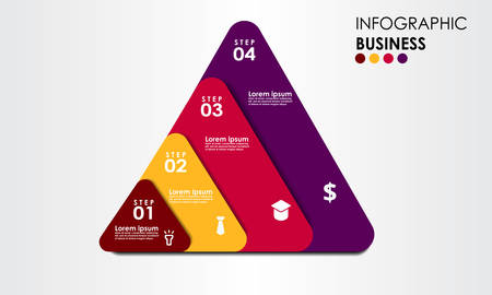 Triangel Timeline Business Infographic design vector with icons can be used for workflow layout Business data visualization. Creative concept for infographic Çizim