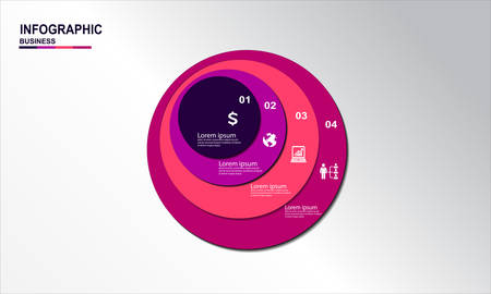 Circle Infographic Vectors template with icons and 4 steps
