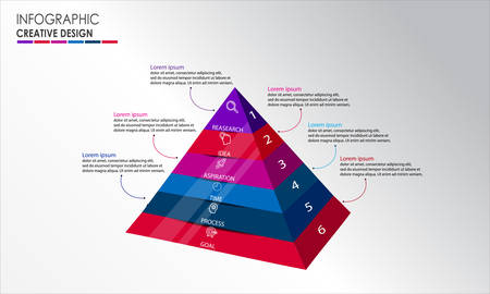 3D pyramid Infographic design vector and marketing icons can be used for workflow layout