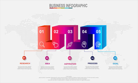 3D Infographic Elements modern template vector can be used for workflow layout Business data visualization. Creative concept for infographic - Vector