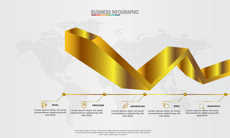 Golden Arrow 3D Infographic Elements modern template vector can be used for workflow layout Business data visualization. Creative concept for infographic - Vector
