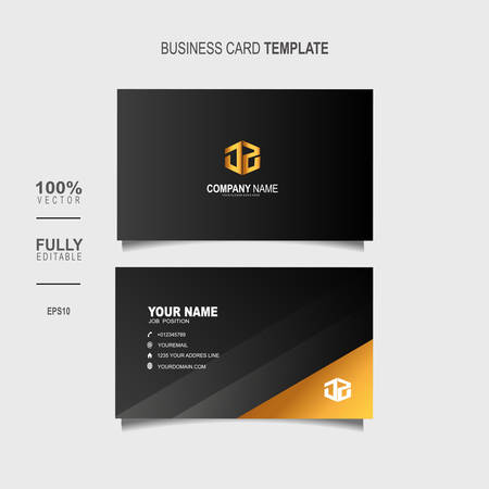 Creative and Clean Double-sided Luxury Business Card Template with gold colour Vector Illustration Çizim