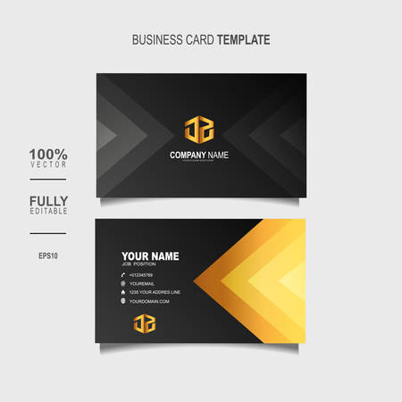 Creative and Clean Double-sided Luxury Business Card Template with gold colour Vector Illustration Stok Fotoğraf - 129901978