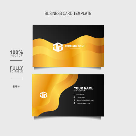 Creative and Clean Double-sided Luxury Business Card Template with gold colour Vector Illustration Stok Fotoğraf - 129898489