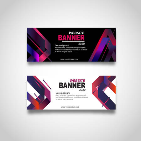 abstract banner with glowiong purple banner