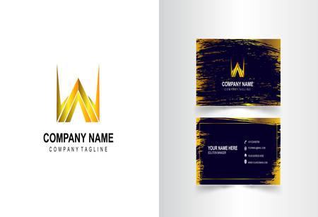 W Letter Logo Corporate Business card Çizim