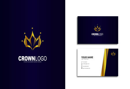 Modern and luxurious business cards, with crown logo Stok Fotoğraf - 129898492