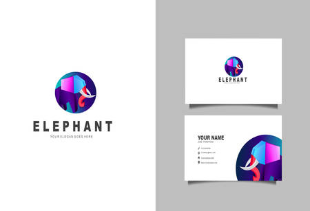Creative and Clean Double-sided Business Card Template & Elephant logo, Flat Design Vector Illustration Çizim