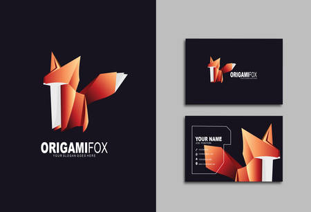 Creative and Clean Double-sided Business Card Template & Fox logo, Flat Design Vector Illustration