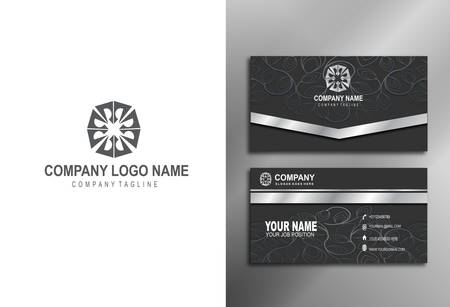 Modern and luxurious business cards, with flower logo Stok Fotoğraf - 129898498