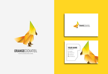 Creative and Clean Double-sided Business Card Template & Yellow Bird logo, Flat Design Vector Illustration Çizim