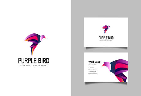 Creative and Clean Double-sided Business Card Template & Purple Bird logo, Flat Design Vector Illustration