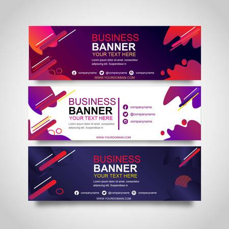 set of three banner colorful creative design