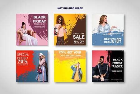 Modern promotion square web banner for social media mobile apps Çizim