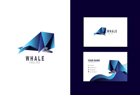 Creative and Clean Double-sided Business Card Template & Blue Whale logo, Flat Design Vector Illustration