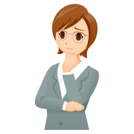 Woman Suit Glasses Pose Векторная Иллюстрация