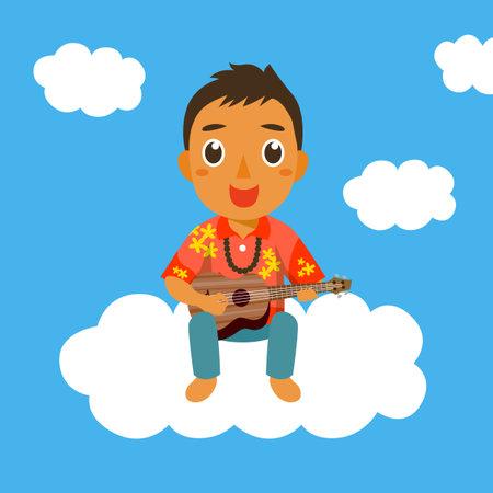 Man playing ukulele Illustration