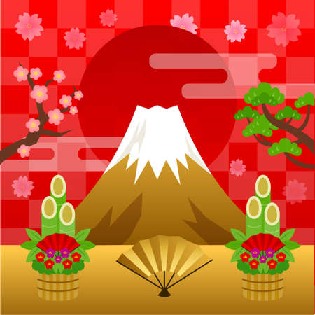 mount fuji New Year Background Material