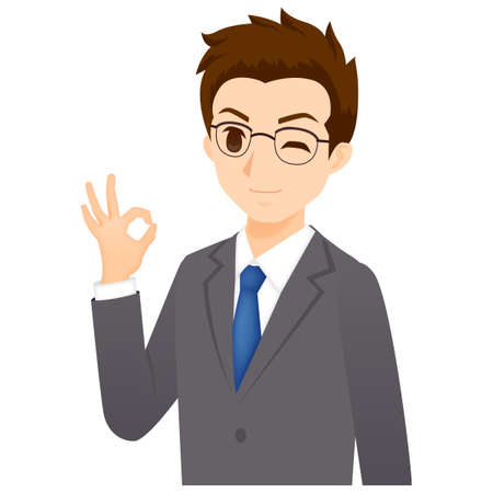 Male OK Pose Illustration