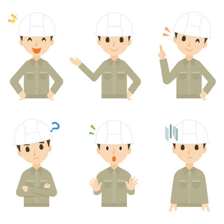 Male Construction Architect Facial Expression Pose Illustration