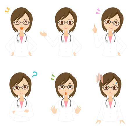 Female Doctor Pose Set Illustration