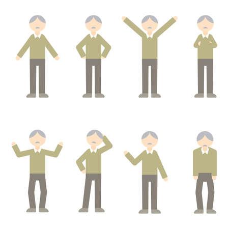 Flat Icon Person Old Man Illustration