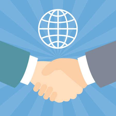 Shook hands with global Illustration
