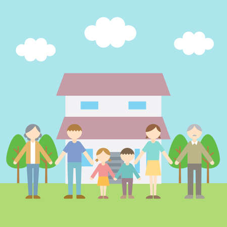 Flat Icon Person Family Home