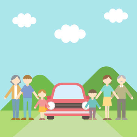 Flat Icon Person Family Drive Illustration