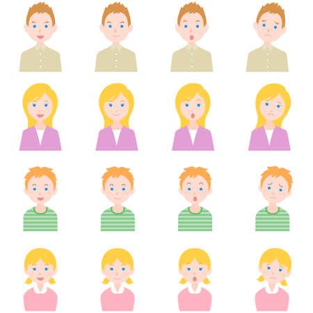 flat family people caucasian Illustration