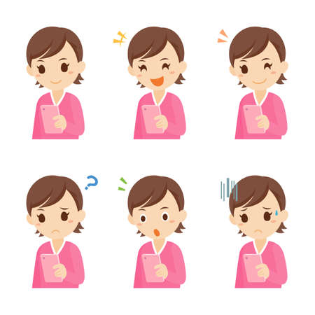 Girl with Mobile Smartphone Facial Expression Pose