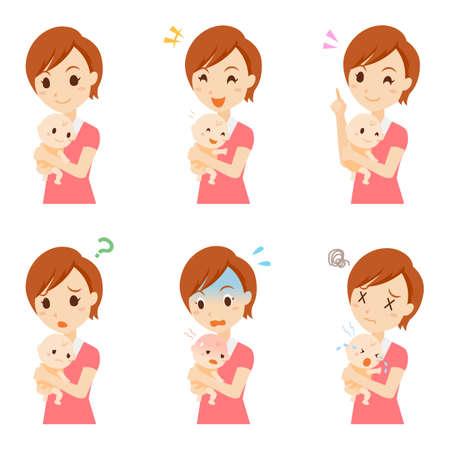 Parenting Female Facial Expression Set Illustration