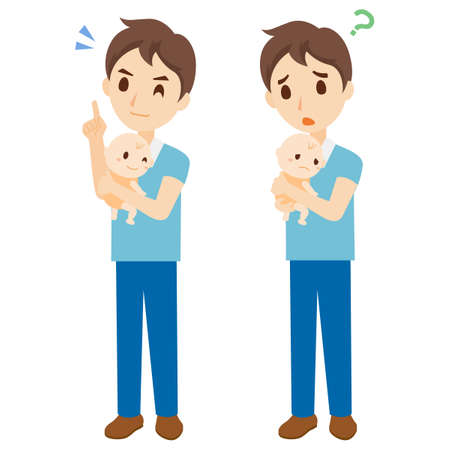 Parenting Male Facial Expression Whole Body Set Illustration