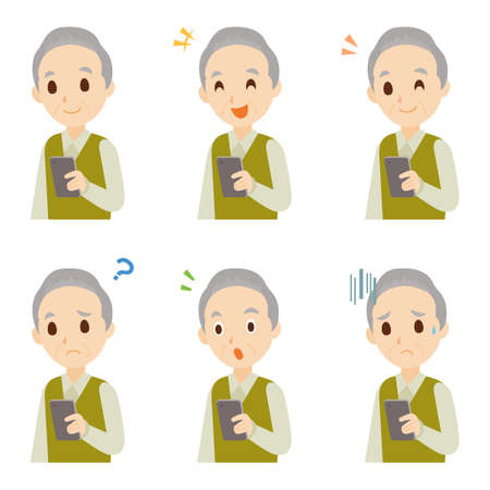 Male Old Man with Mobile Smartphone Facial Expression Pose