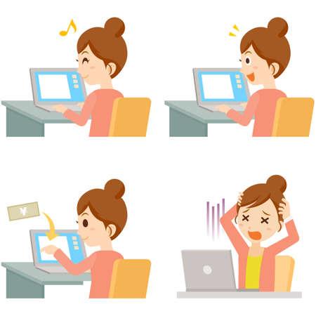Woman using PC Pose Set